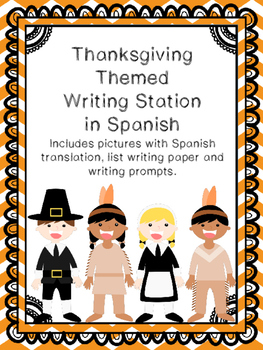 Thanksgiving Writing Station in Spanish