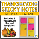 Thanksgiving Writing Sticky Note Templates