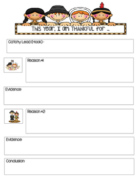 Thanksgiving Writing Template