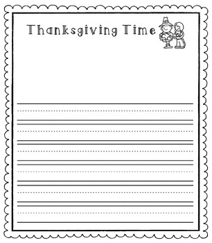 Thanksgiving Writing Templates (With Dashed Lines)