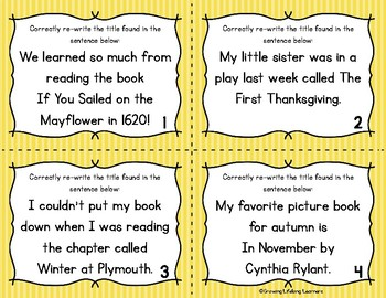 "Thanksgiving ""Writing Titles"" Task Cards (For BIG KIDS!)"
