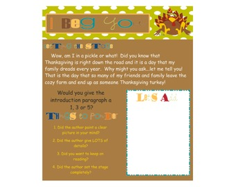 Thanksgiving Writing - Turkey Persuasive Writing Unit