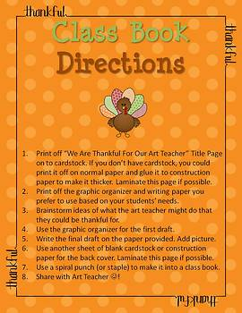 Thanksgiving Writing - We Are Thankful For Our Art Teacher Class Book