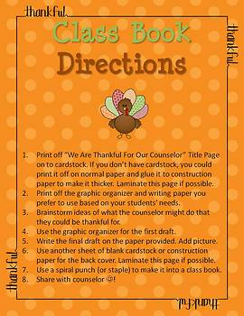 Thanksgiving Writing - We Are Thankful For Our Counselor Class Book