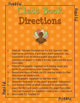 Thanksgiving Writing - We Are Thankful For Our P.E. Teacher Class Book