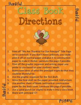 Thanksgiving Writing - We Are Thankful For Our Principal Class Book