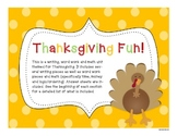 Thanksgiving Writing, Word and Math Unit