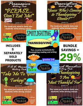 Thanksgiving Writing and Reading BUNDLE