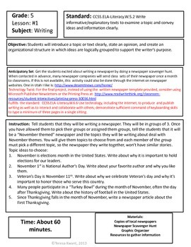Thanksgiving Writing Lessons for 5th Grade