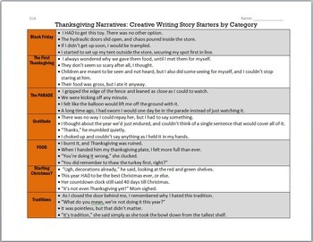 Thanksgiving Writing for Teens: Choice Menu with 40 Prompts {November}