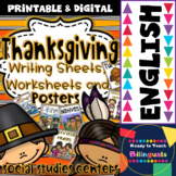 Thanksgiving Writing sheets, Worksheets and Posters in English