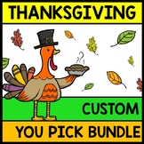 Thanksgiving YOU Pick Bundle: Math, Reading, Writing, Cooking, Special Education
