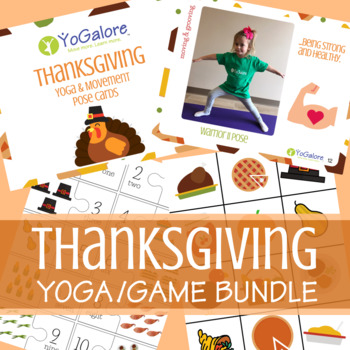 Thanksgiving Yoga Pose Cards, Counting/Number Puzzles, & Memory Game BUNDLE