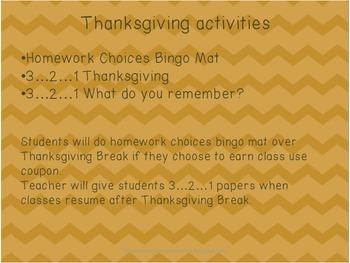 Thanksgiving activities & homework menu