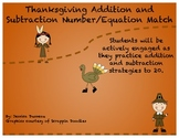 Thanksgiving addition and subtraction number/equation match