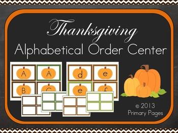Thanksgiving Alphabetical Order Pocket Chart Center