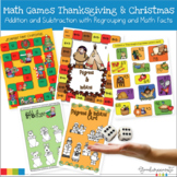 Thanksgiving and Christmas Addition and Subtraction with Regrouping Math Games