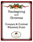 Thanksgiving and Christmas Compare and Contrast Diamante Poem