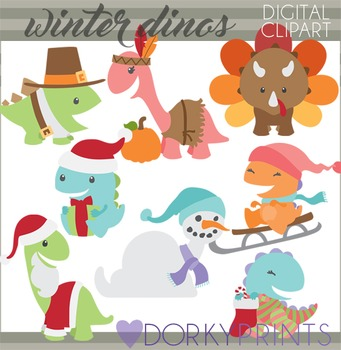 Thanksgiving and Christmas Dinosaurs Clipart