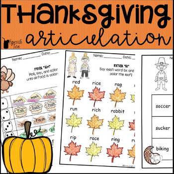 Thanksgiving Articulation Activities ALL SOUNDS