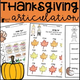 Thanksgiving Articulation Activities ALL SOUNDS