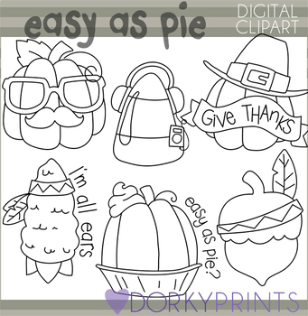 Thanksgiving and Fall Blackline Clipart