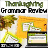 Thanksgiving Grammar Task Cards   Digital Thanksgiving Gra