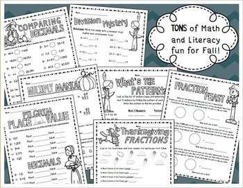 Thanksgiving and Fall Math and Literacy Fun Activites