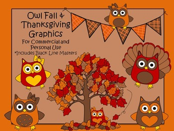 Thanksgiving and Fall Owl Graphics for Personal and Commer