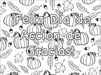 Thanksgiving and Gratitude Spanish Quotes Coloring Pages ...