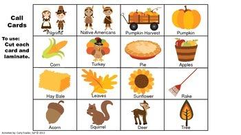 Thanksgiving and Harvest Vocabulary Bingo (Freebie)