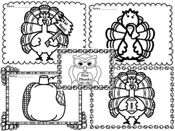 Thanksgiving and November Coloring Pages