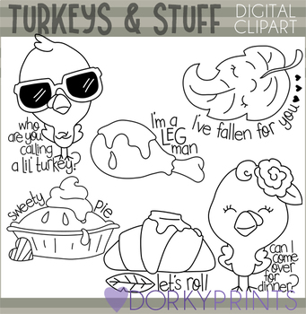 Thanksgiving and Turkeys Blackline Clipart