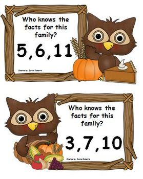 Thanksgiving and owl themed fact family centers and worksheets CCSS aligned