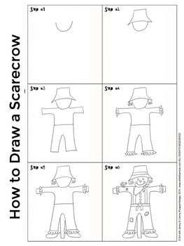 Thanksgiving Activities Free: How to Draw a Turkey, Scarecrow and Pilgrims.
