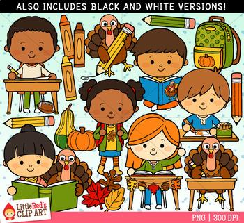 Thanksgiving at School Clip Art