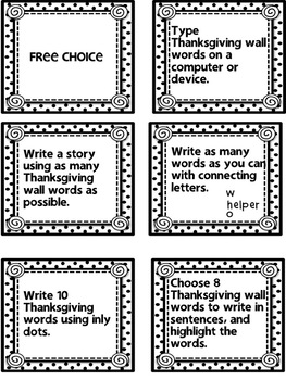 Thanksgiving autumn word wall activities and literacy task cards