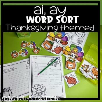 Thanksgiving, ay and ai word sort