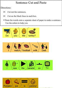 Thanksgiving basic reading comprehension; modified for special ed, Boardmaker