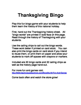Thanksgiving bingo game (U.S.)