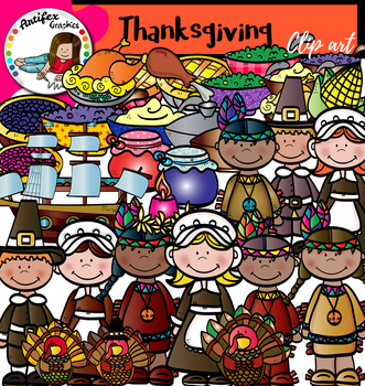 Thanksgiving clip art - Color and black/white- 48 items!