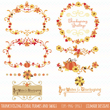 Thanksgiving floral frames, wreaths and swags clipart for commercial use