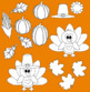 Thanksgiving clipart Turkey Day clipart autumn clip art+black white outline