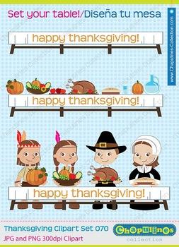 Thanksgiving clipart, pilgrims, native americans, turkey, clipart set 070
