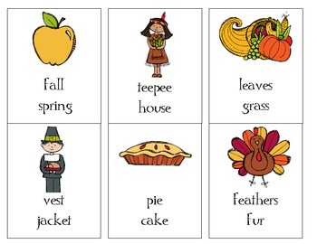 Thanksgiving compare - contrast cards