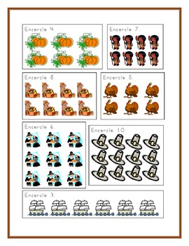 Thanksgiving counting worksheets in French