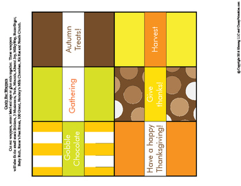 FREE Thanksgiving printable candy wrappers