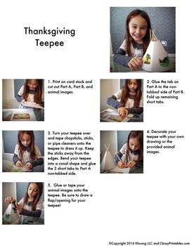 Printable teepee crafts for kids FREE coloring pages Thanksgiving facts