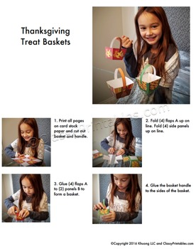 Thanksgiving crafts treat/crayon baskets FREE coloring pages Thanksgiving facts