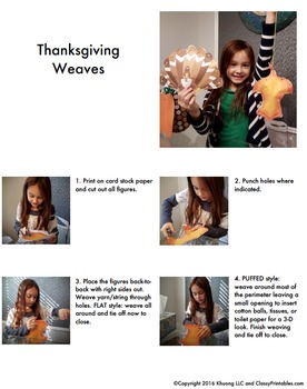 Thanksgiving crafts printable weaves - fine motor skills FREE facts and coloring